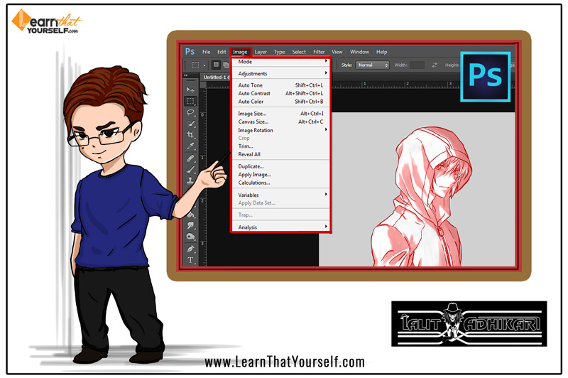 Image menu in photoshop cover image by Lalit Adhikari at Learn That Yourself