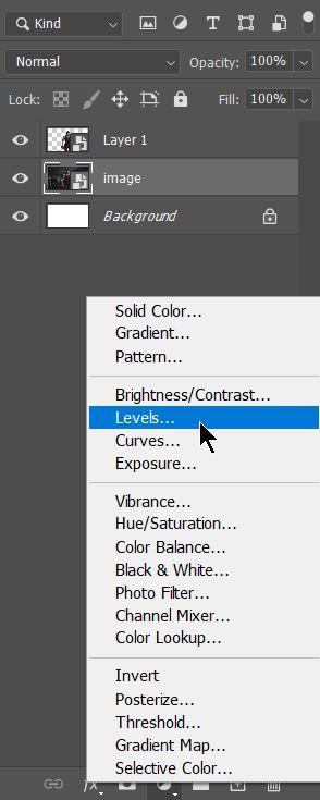 21 Screenshot level adjustment layer