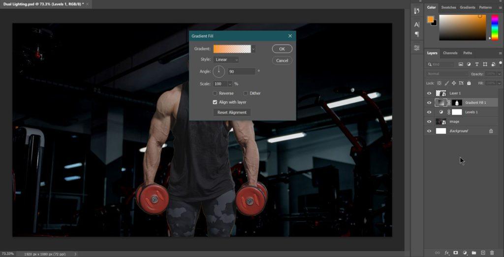 27 Screenshot gradient adjustment layer options