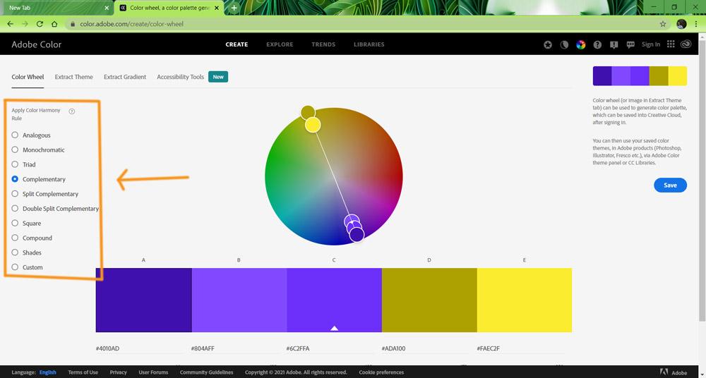 6 Screenshot complementary color