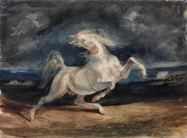 Eugene Delacroix Horse Frightened by Lightning