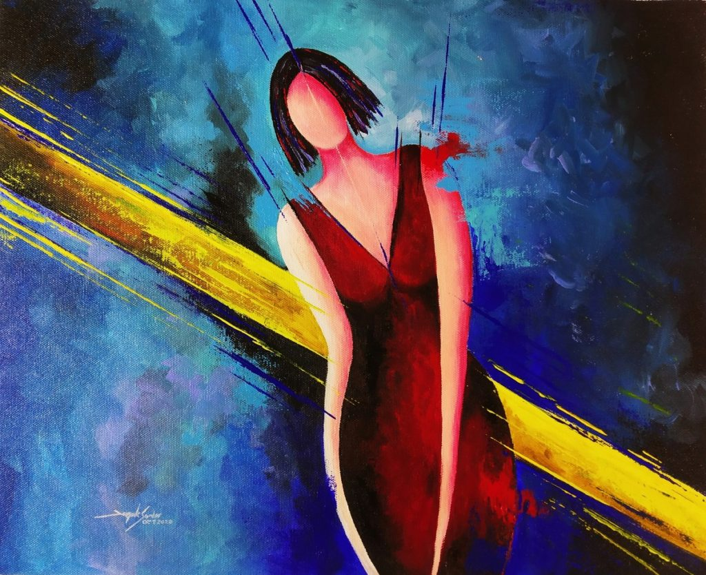 colorful figurative woman Abstract painting