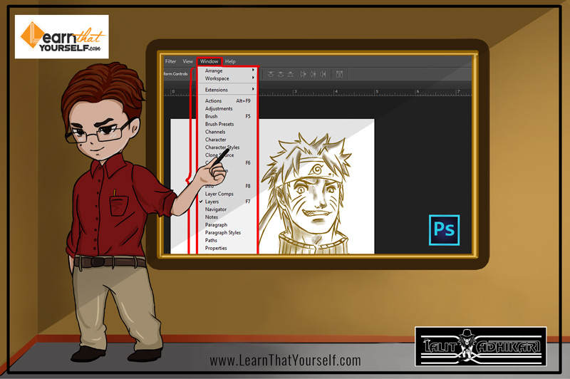 Window menu in photoshop by Lalit Adhikari at Learn That Yourself